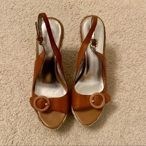 Like NEW JESSICA SIMPSON BROWN LEATHER WEDGES